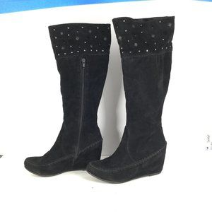 Nature Breeze Studded Wedge Boots Black Size 5.5